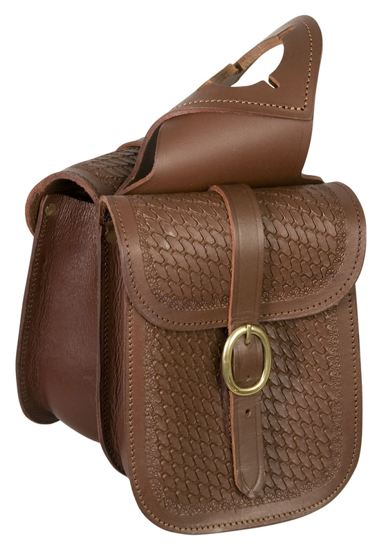 Stamped Basket-Weave Leather Horn Bag