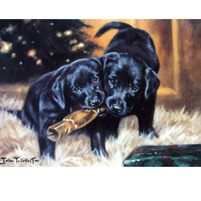 Christmas Cracker (Labrador Retrievers) Blank Greeting Cards - 6 Pack