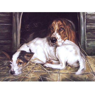 Fed Up (Jack Russell and Basset) Blank Greeting Cards - 6 Pack