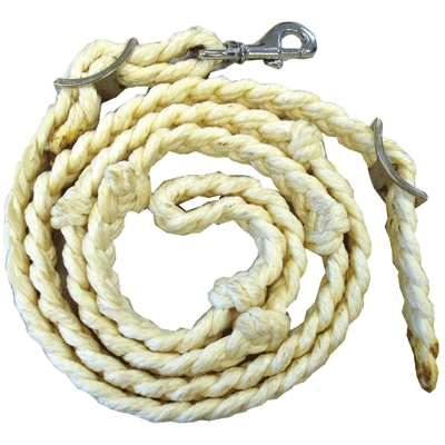 Barrel Racing Rein Thick cotton hand braided with knots for better grip and control of the rein.