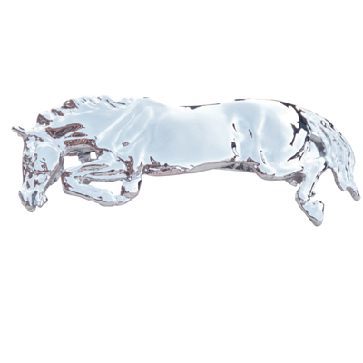 Jumping Horse Hair Clip Platinum plated and comes on a hang card.
