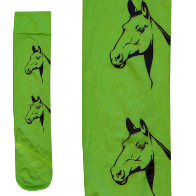 Intrepid Exclusive Horse Theme Socks - Heads on Green
