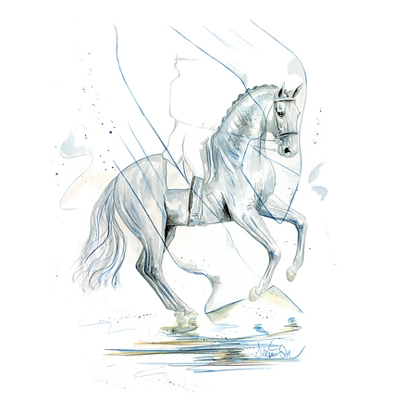 Jan Kunster Horse Prints - Blue Motion (Dressage)