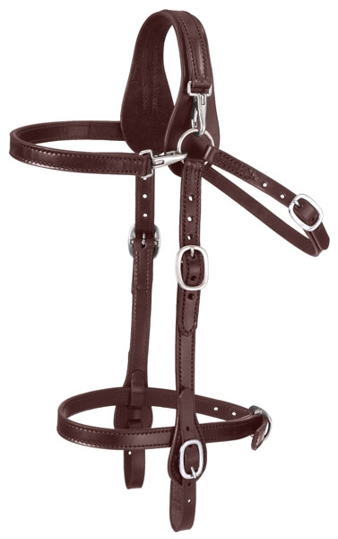 Tough-1 Leather Mule Headstall with Snap Crown and Brow