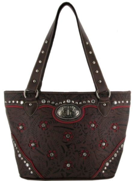 P & G Collection Floral Tooled Purse