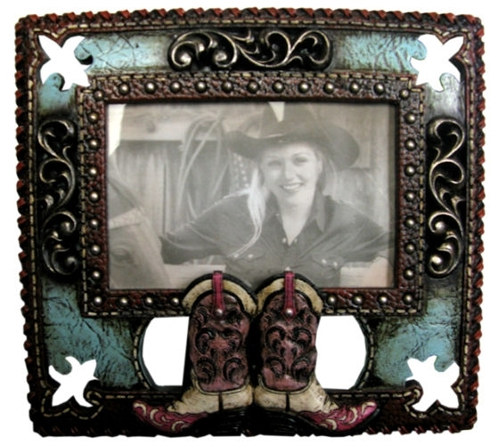 Double Boot Western Picture Frame
