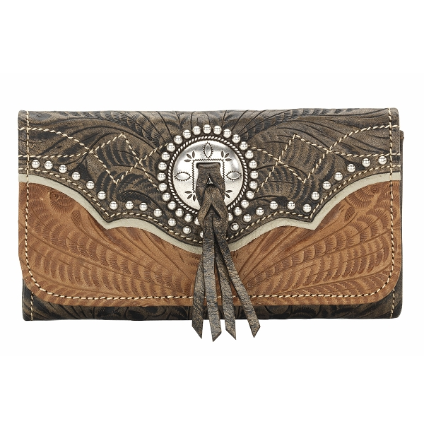 AMERICAN WEST Heart of Gold Ladies Tri-Fold Wallet