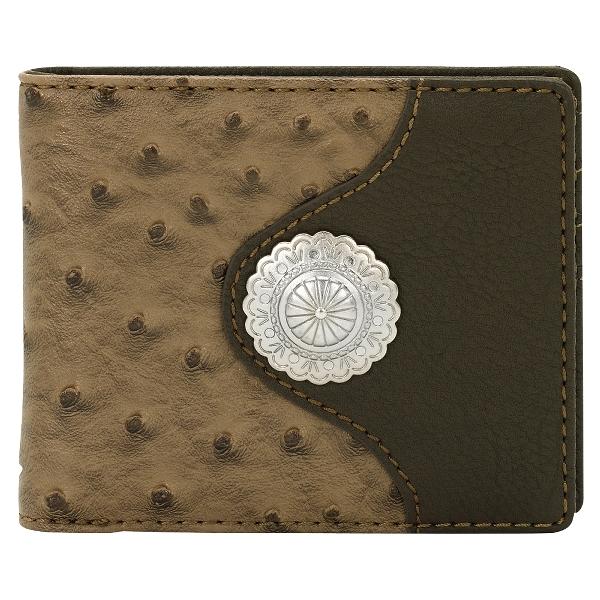 Bandana Lake Tahoe Men's Ostrich Concho Bi-Fold Wallet