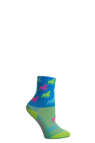 JoJoSox Child's Paddock Tuff Cuff Coolmax Sock - Wild Horses - Multi Neon