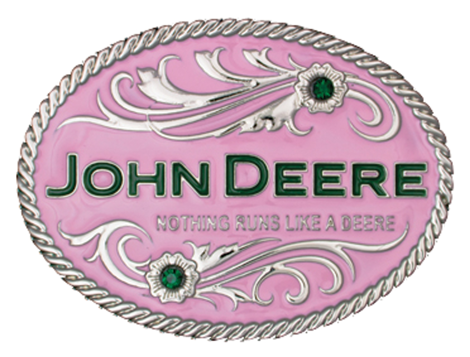 Montana Silversmiths Nothing Runs LikeofDeere Pink with Flowers Attitude Buckle