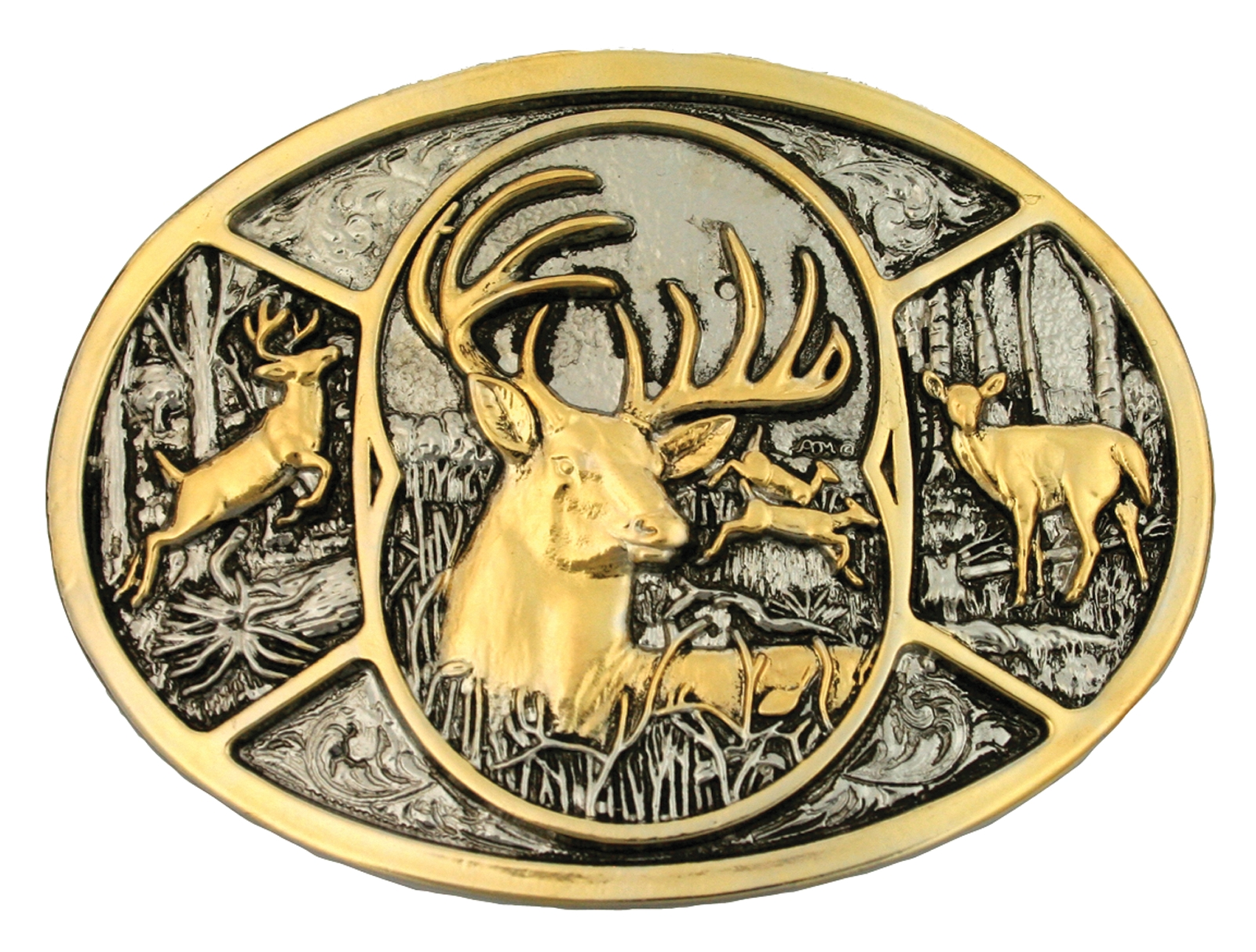 Montana Silversmiths Deer Two Tone Attitude Belt Buckle
