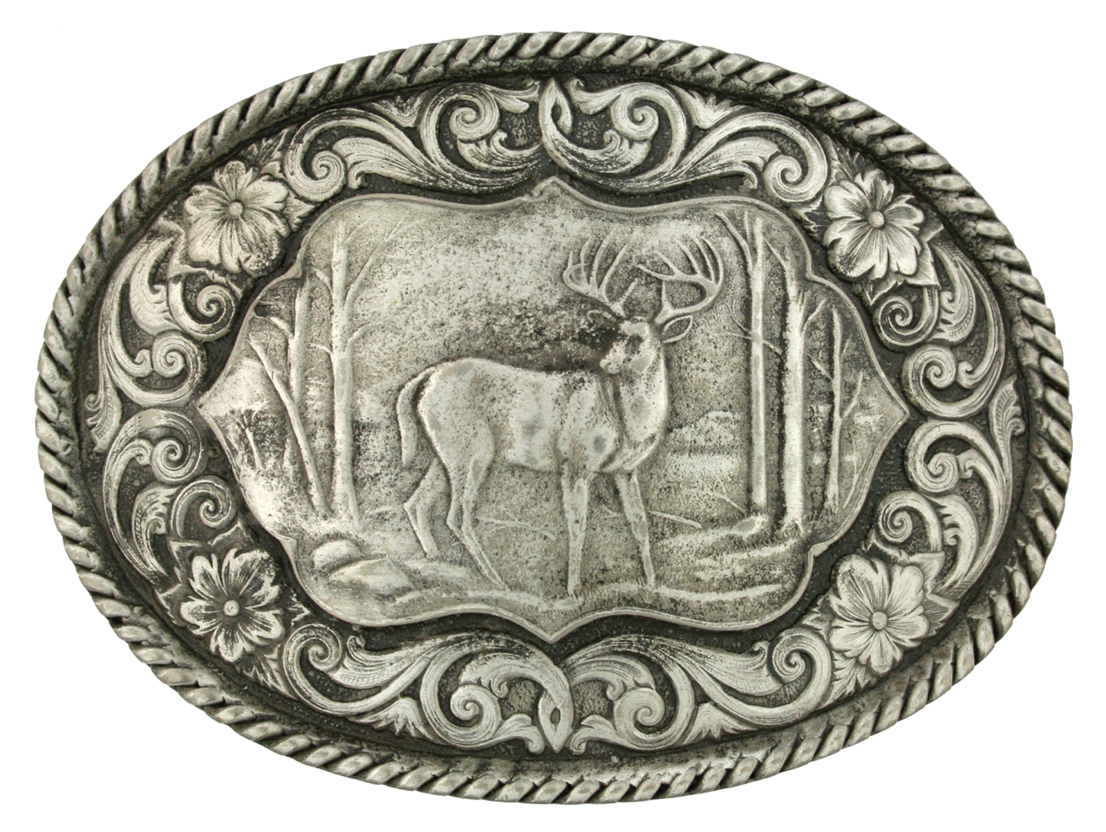 Montana Silversmiths Deer Scene Classic Antiqued Attitude Belt Buckle
