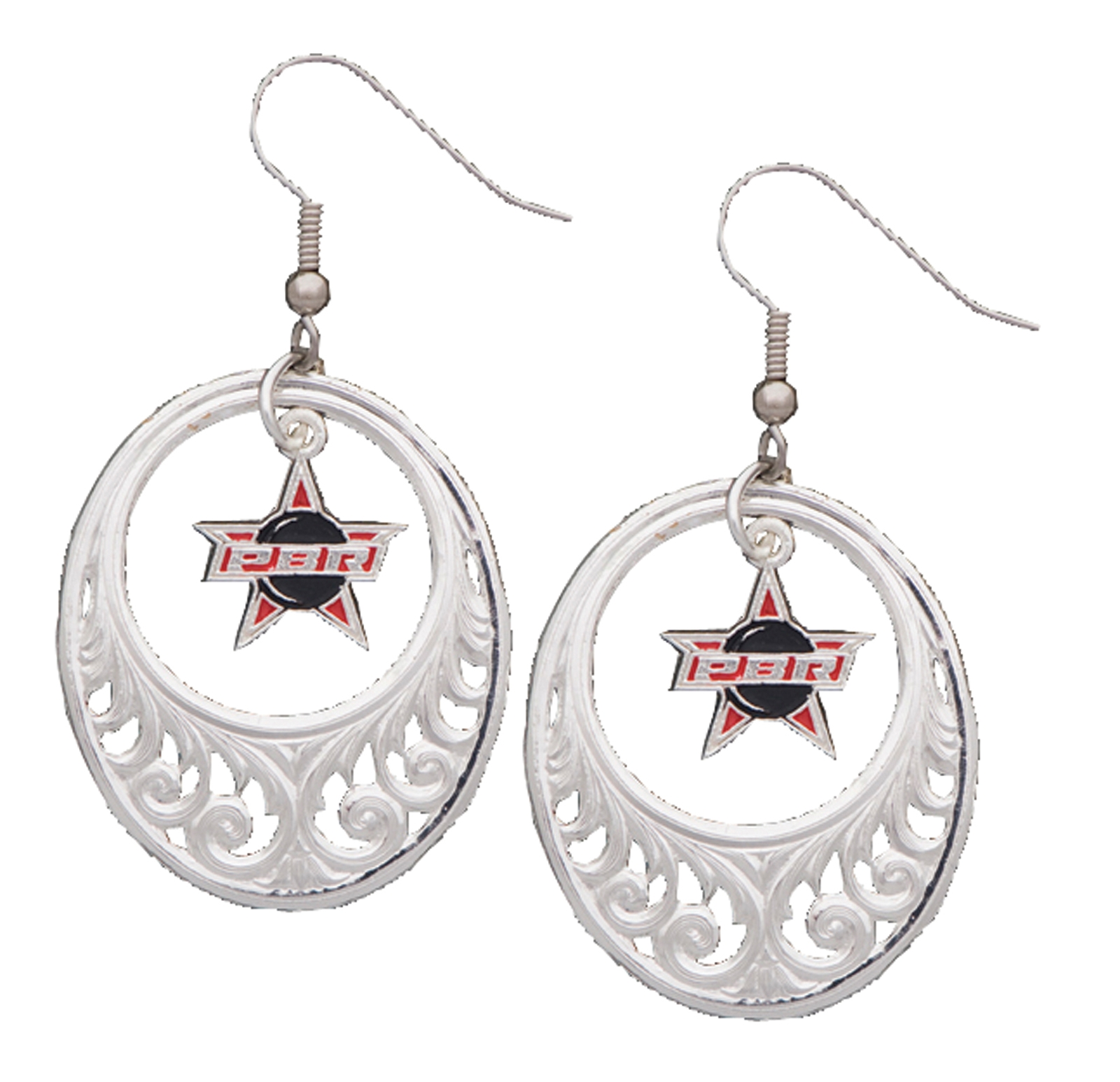 Montana Silversmiths PBR Logo Filigree Circles Earrings