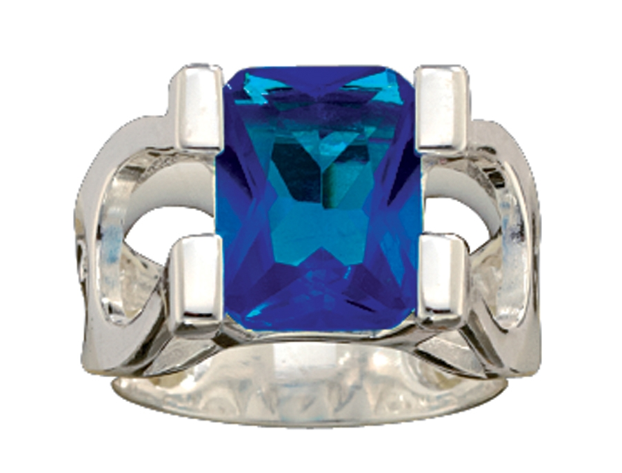 Montana Silversmiths Big and Blue on Horseshoes Ring