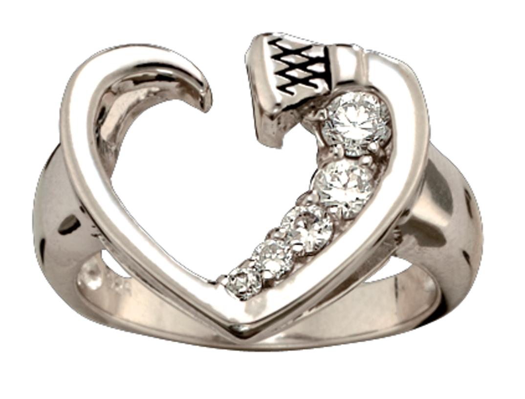 Montana Silversmiths Silver and Shine Horseshoe Nail Heart Ring