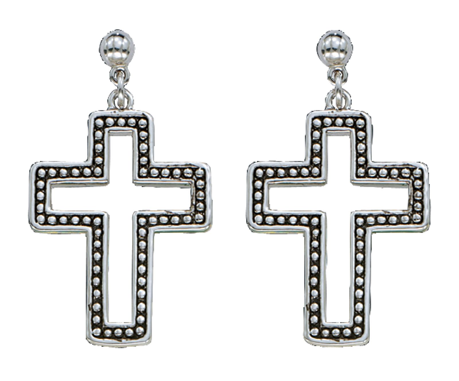 Montana Silversmiths Silver Studded Cross Earrings