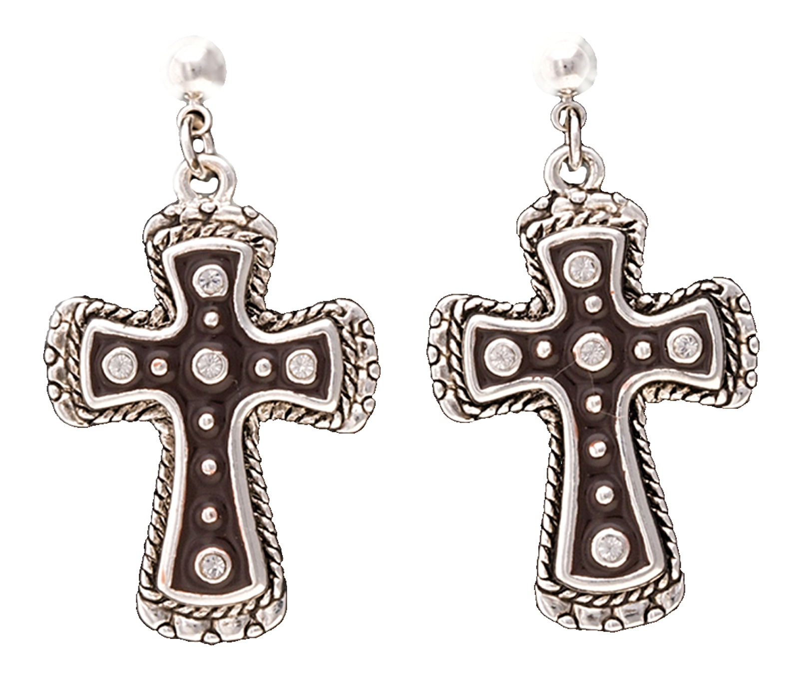Montana Silversmiths Brindle Leather Cross Earrings