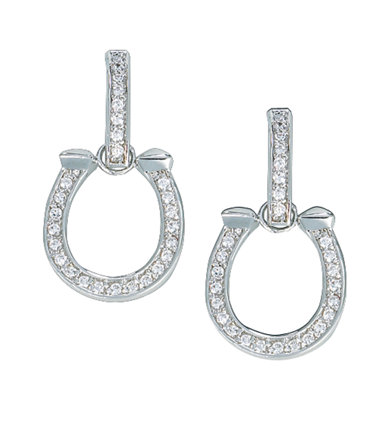 Montana Silversmiths Crystal Bar and Hanging Horseshoe Drop Earrings