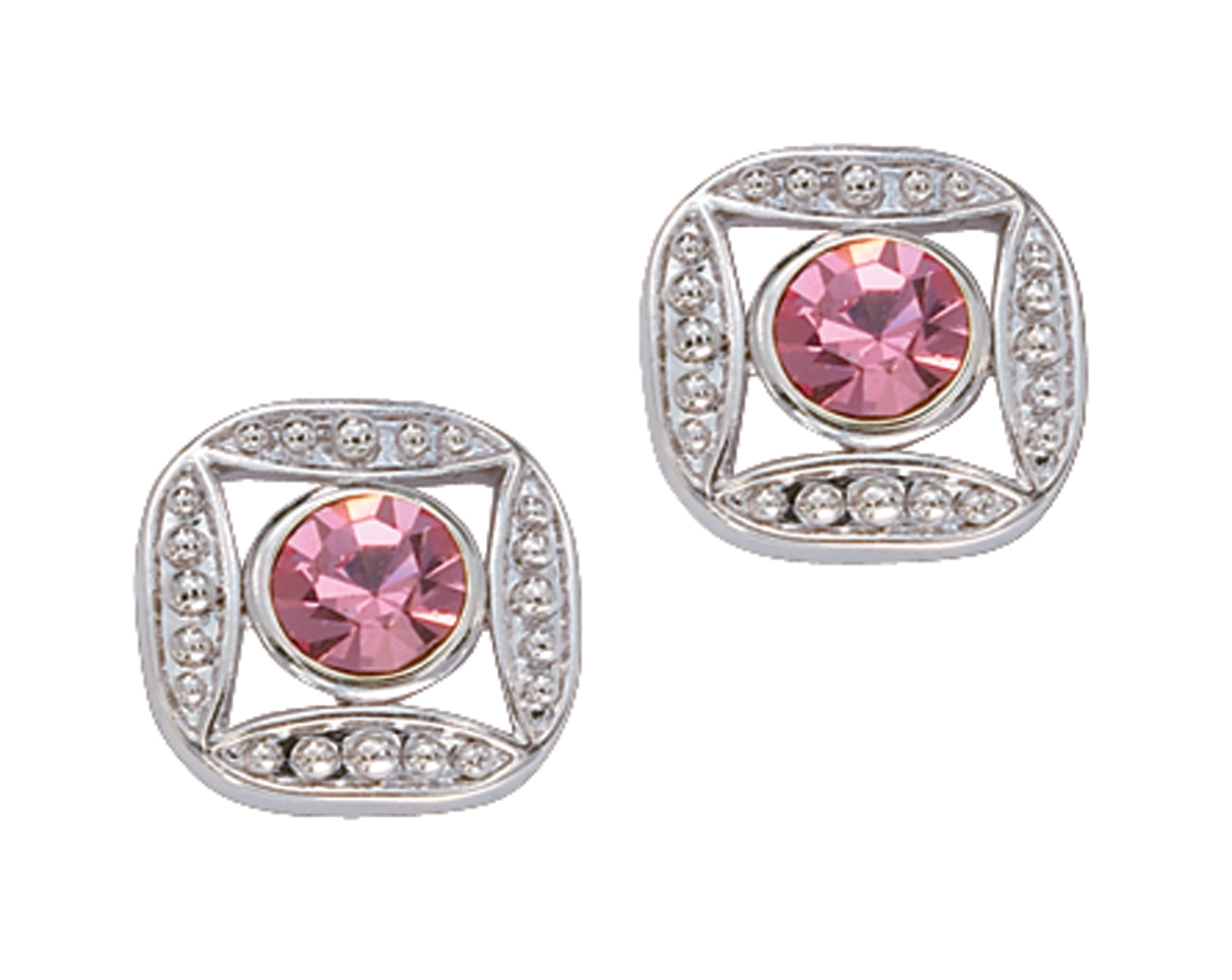 Montana Silversmiths Bezel Set Square Pink Crystal Earrings