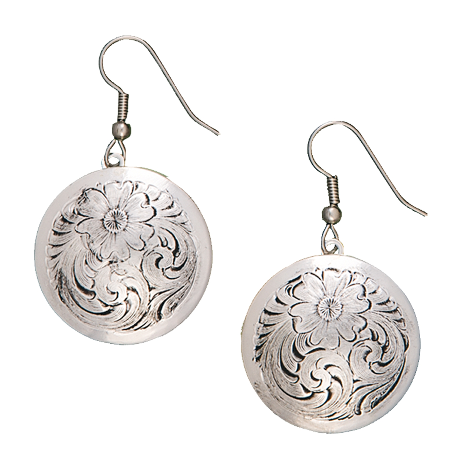 Montana Silversmiths Antiqued Classic Montana Silver Engraved Concho Dangle Earrings