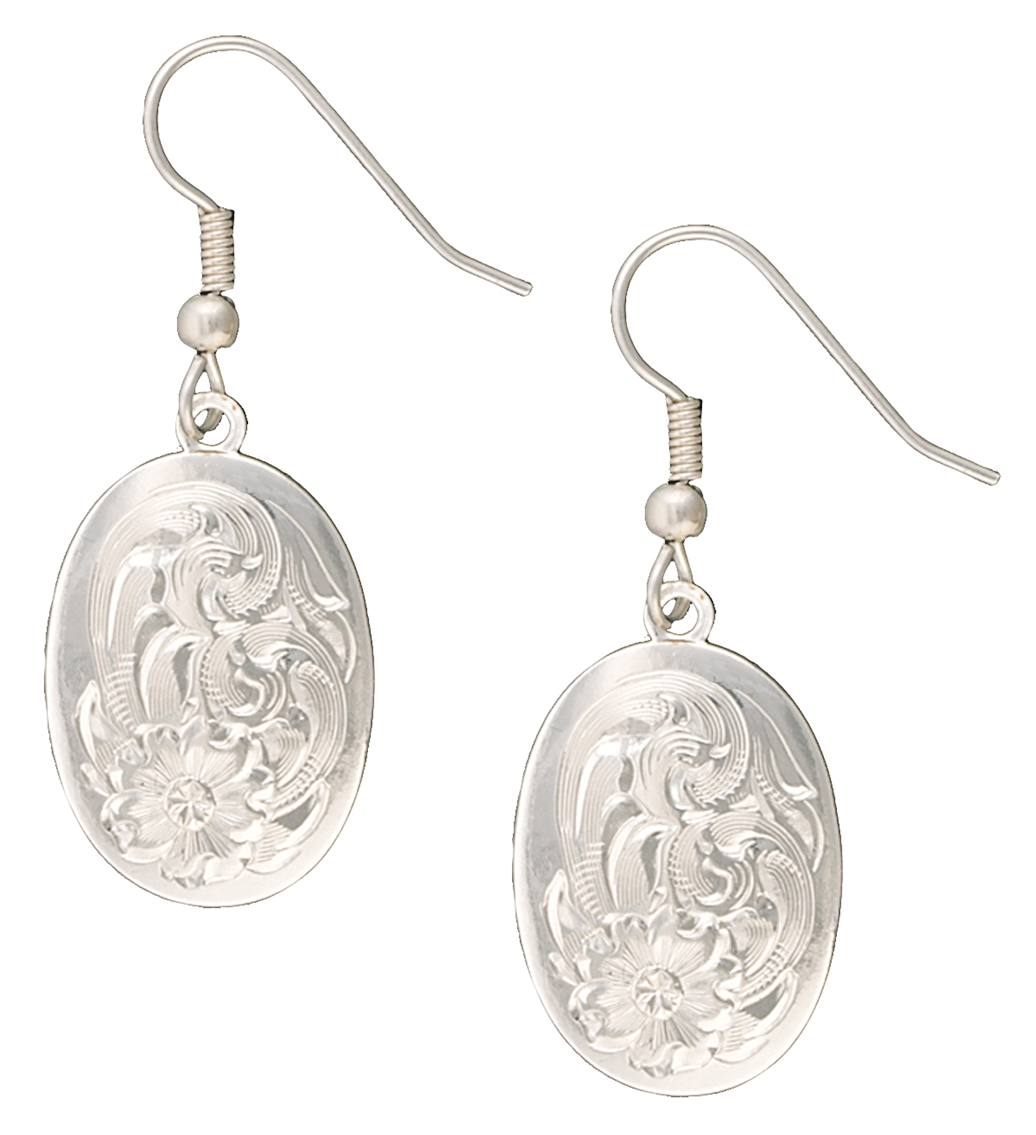 Montana Silversmiths Classic Montana Engraved Small Oval Concho Drop Earrings