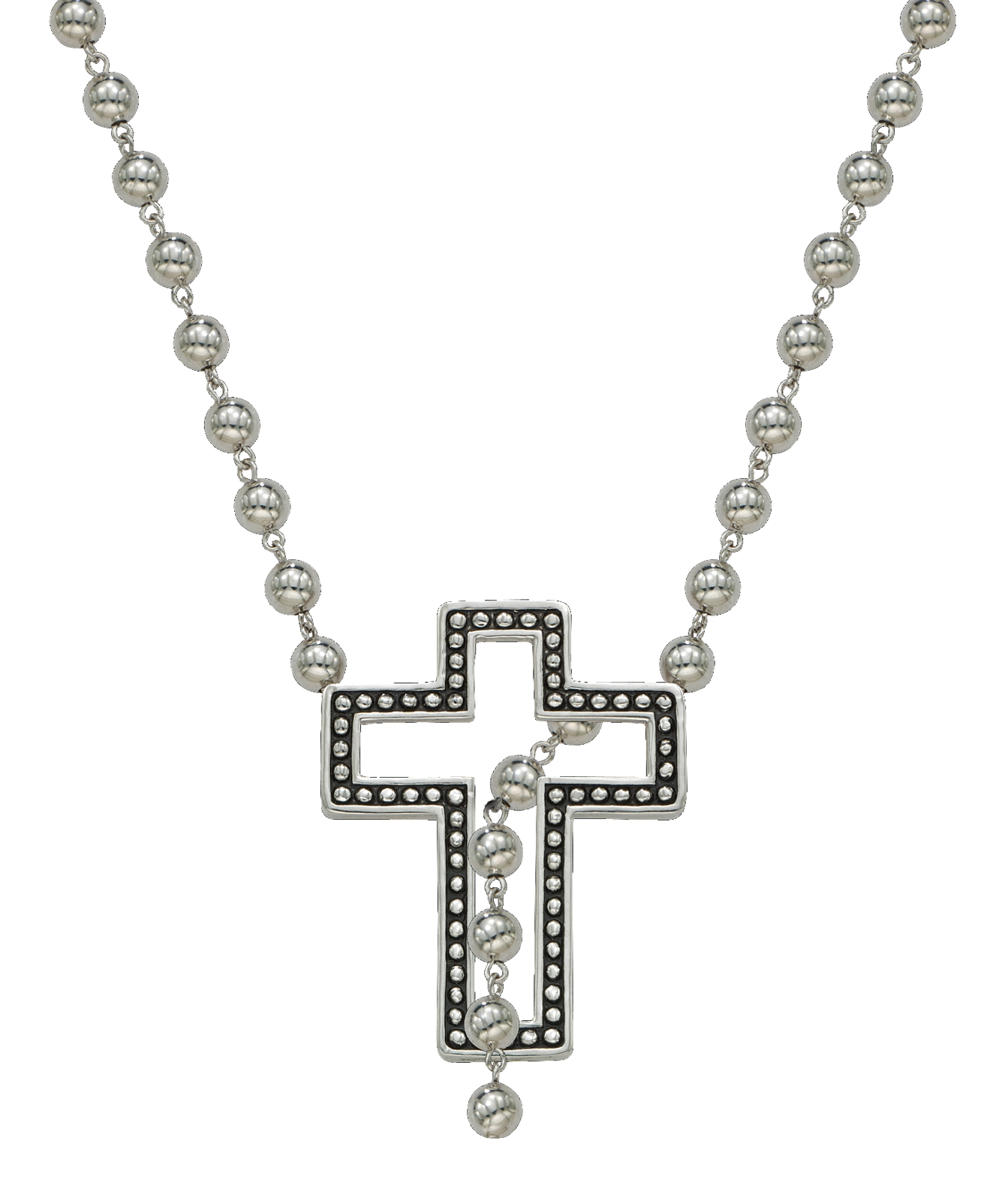 Montana Silversmiths Silver Studded Cross Lariat Necklace