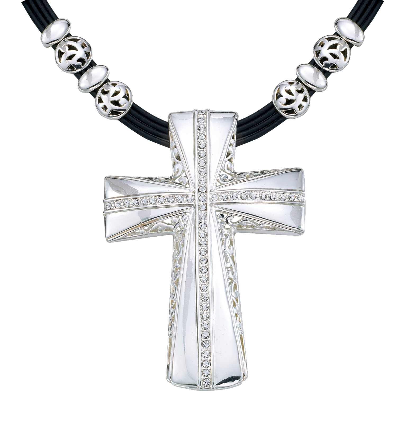Montana Silversmiths Large Silver and Crystal Cross Necklace