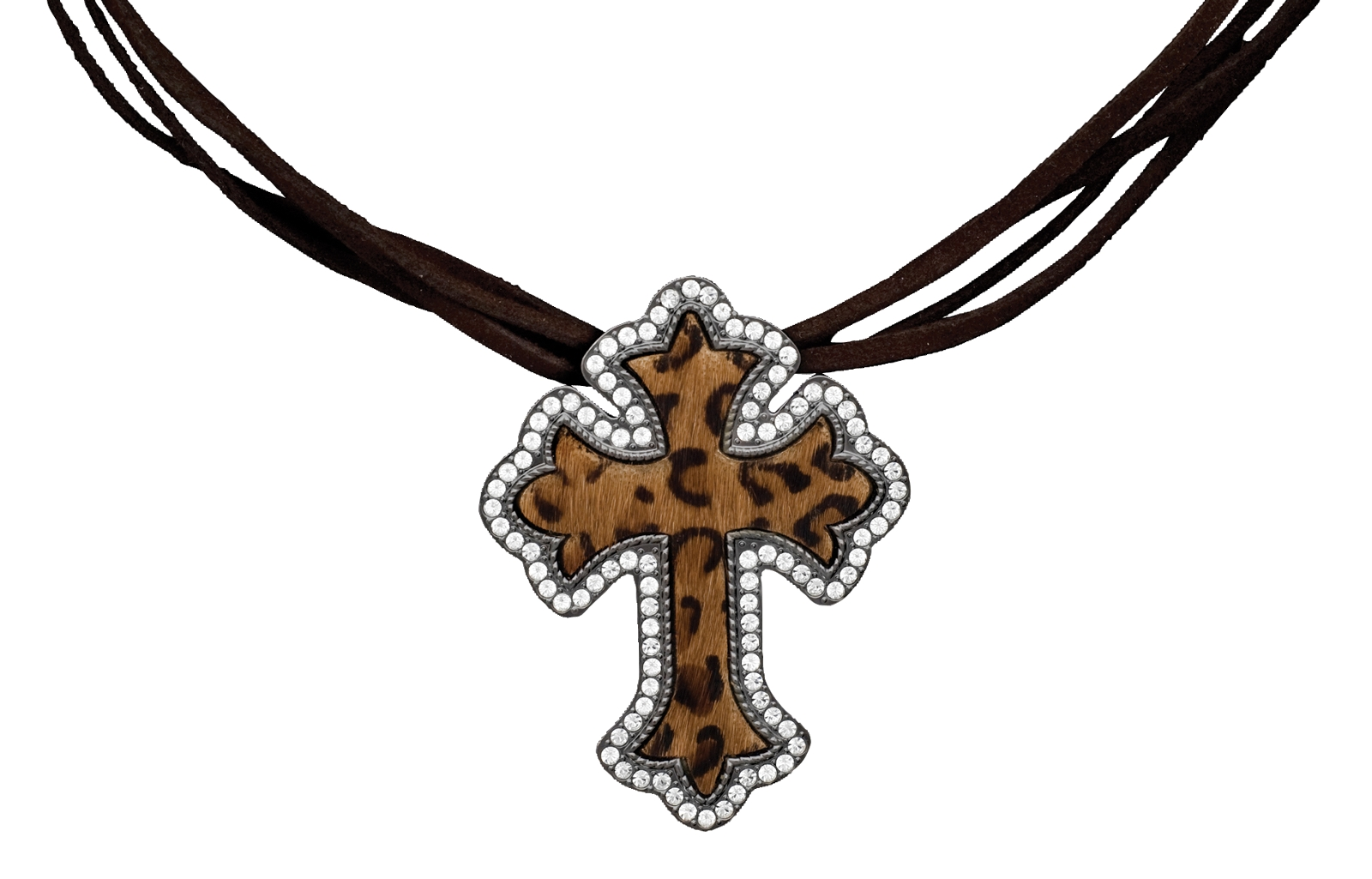 Montana Silversmiths Cheetah Print Hair Cross on Crystal and Leather
