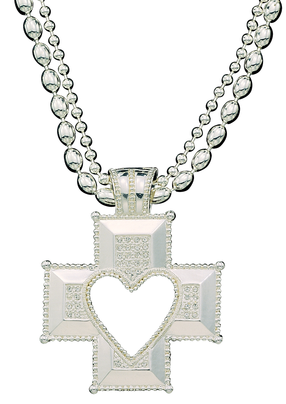 Montana Silversmiths Silver Heart Cross Crystal Encrusted Necklace