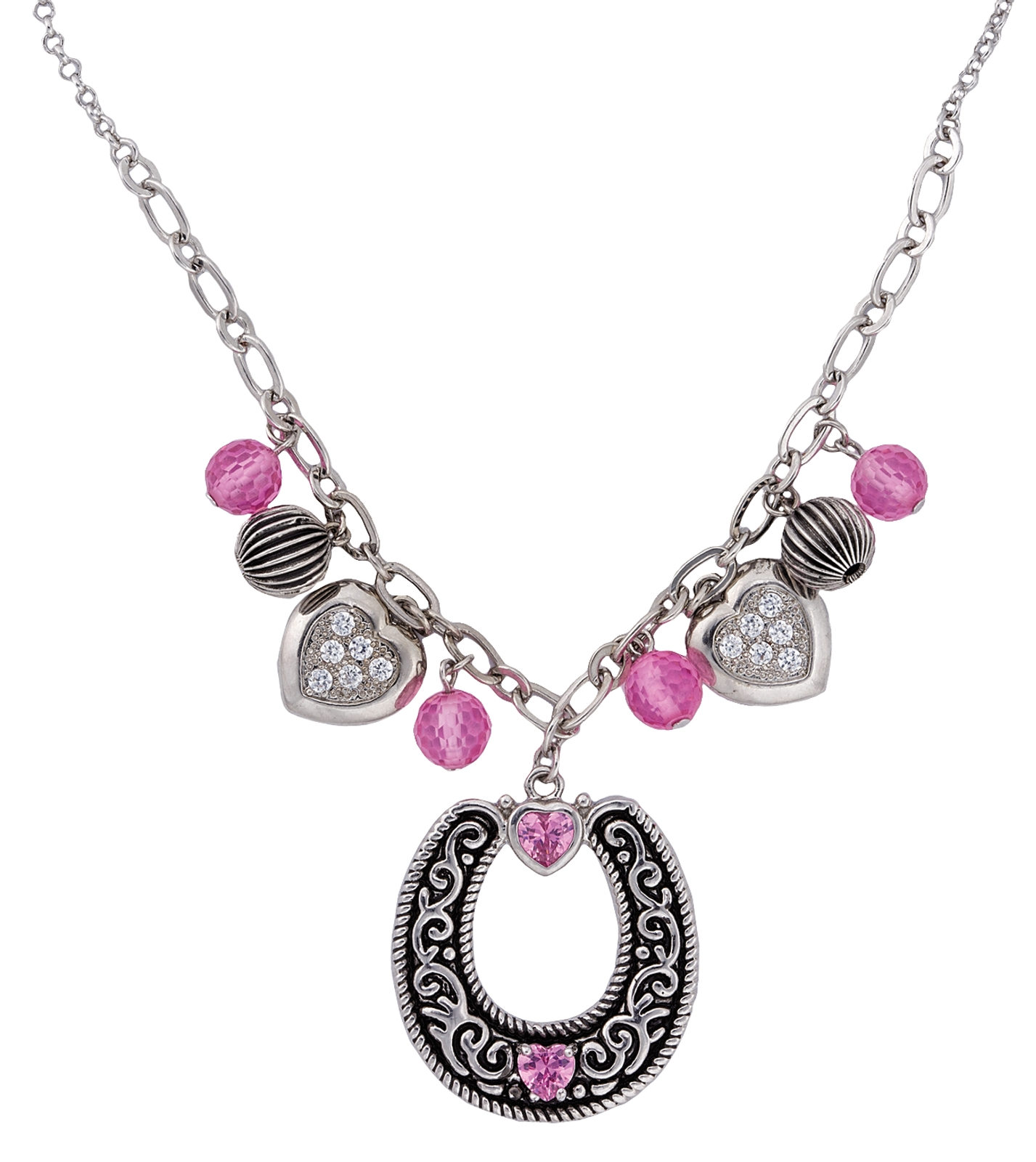 Montana Silversmiths Charmed Cowgirl Pink Horseshoe Necklace