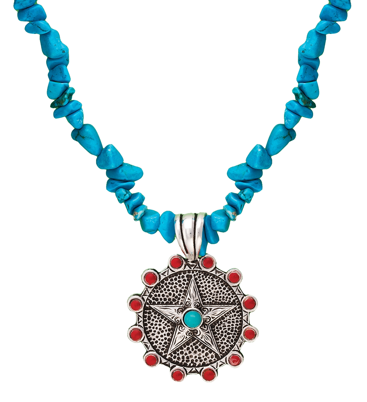 Montana Silversmiths Desert Fire Star Concho Pendant on Turquoise Necklace