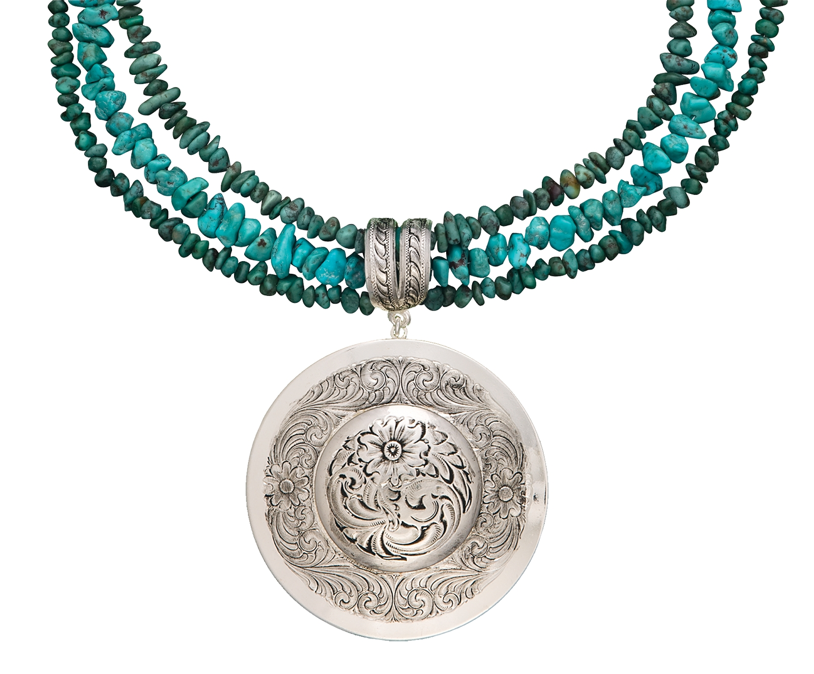 Montana Silversmiths Antiqued Classic Montana Silver Engraved Concho Necklace