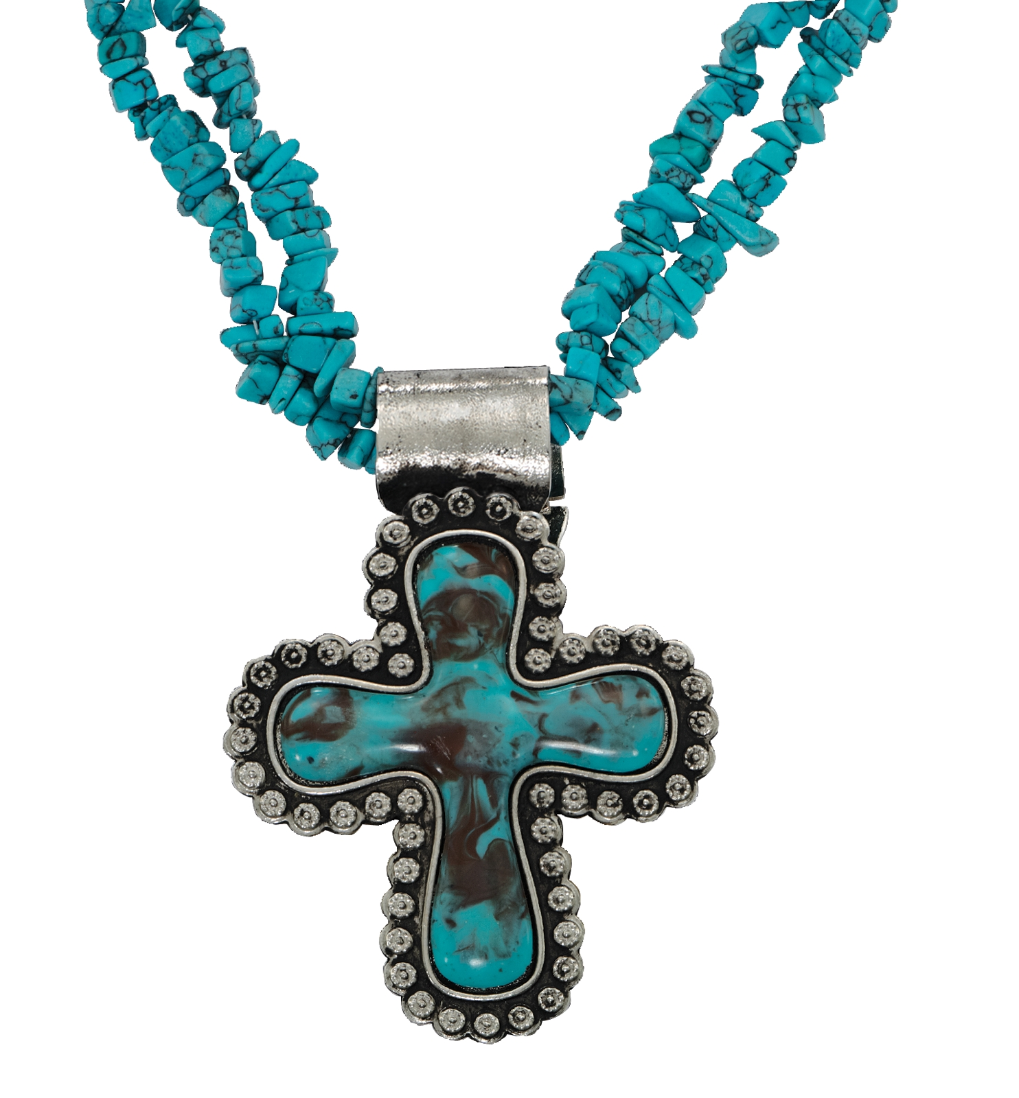 Montana Silversmiths Blue Earth Cross Pendant Necklace