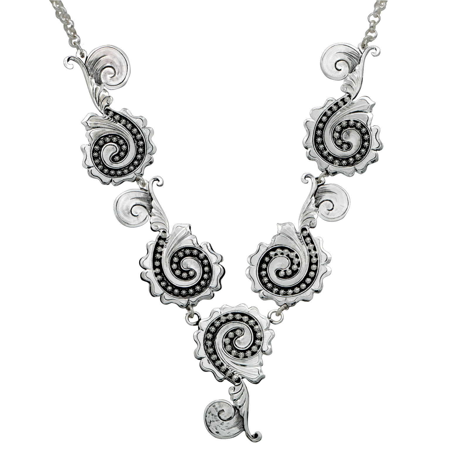 Montana Silversmiths Prairie Blooms In Silver Swirls Y Necklace