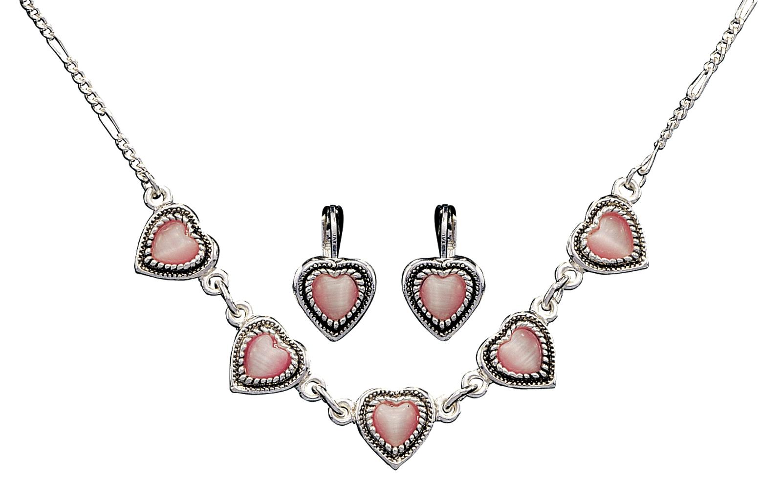 Montana Silversmiths Pink Hearts Jewelry Set