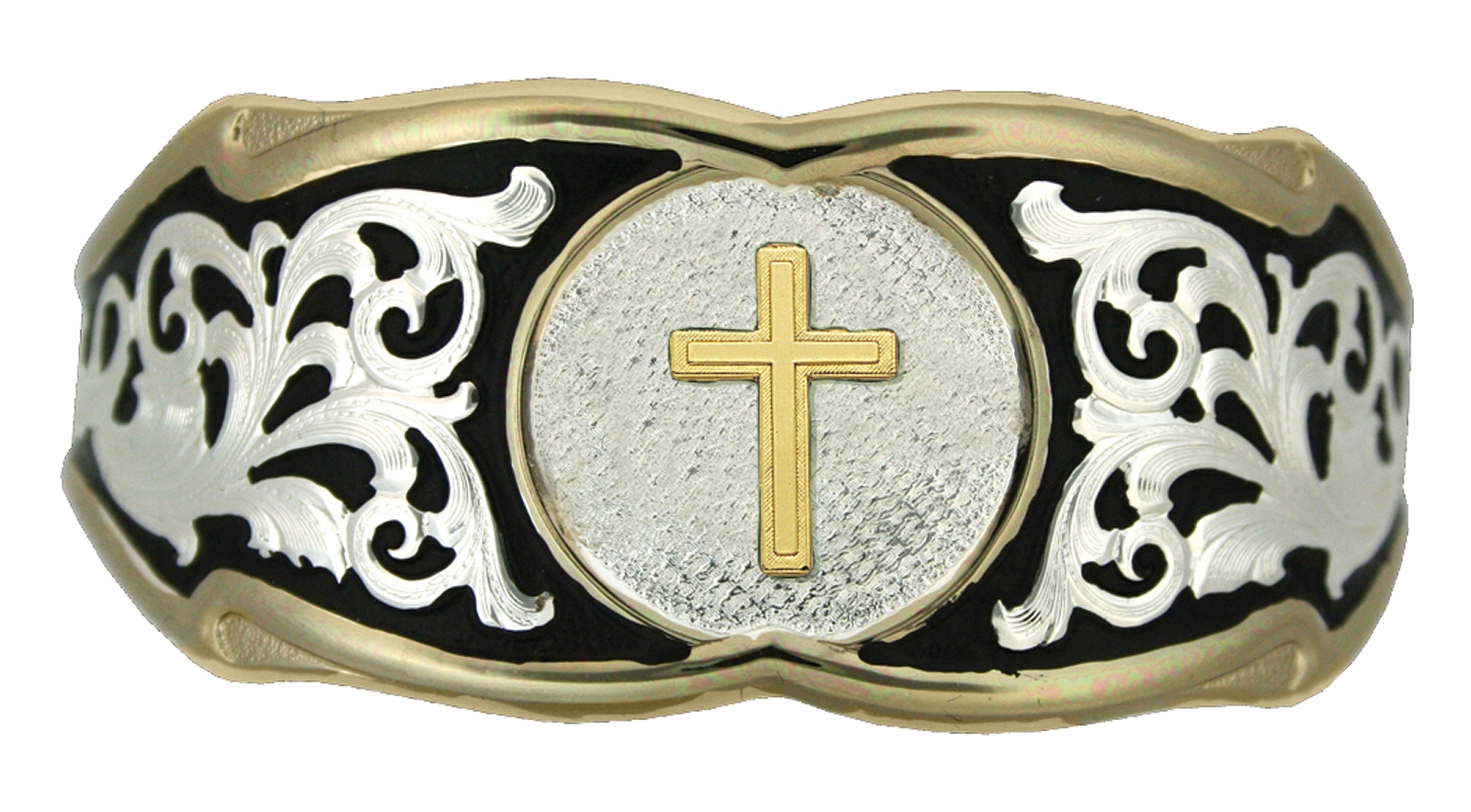 Montana Silversmiths Silver Filigree with Gold Trim Cuff Bracelet with Triple Cross