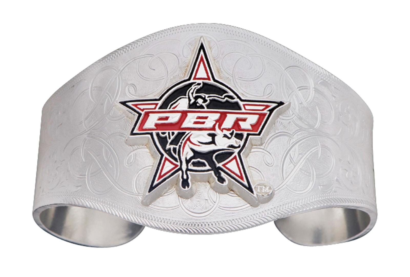 Montana Silversmiths PBR Bull Logo Silver Engraved Cuff Bracelet
