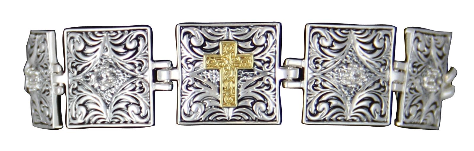 Montana Silversmiths Stepping Stone Links Bracelet with Cross