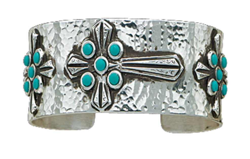 Montana Silversmiths Turquoise Crosses on Hammered Silver Cuff Bracelet