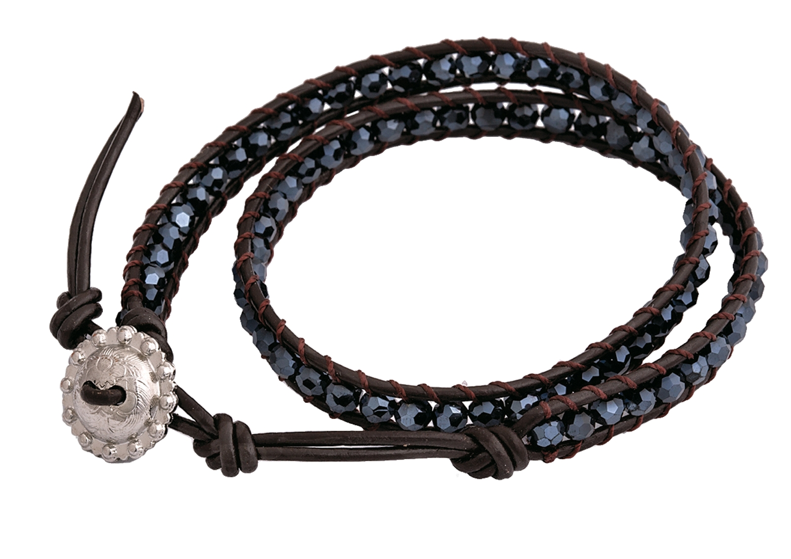 Montana Silversmiths Black Leather Wrap Bracelet with Black Crystal Beads