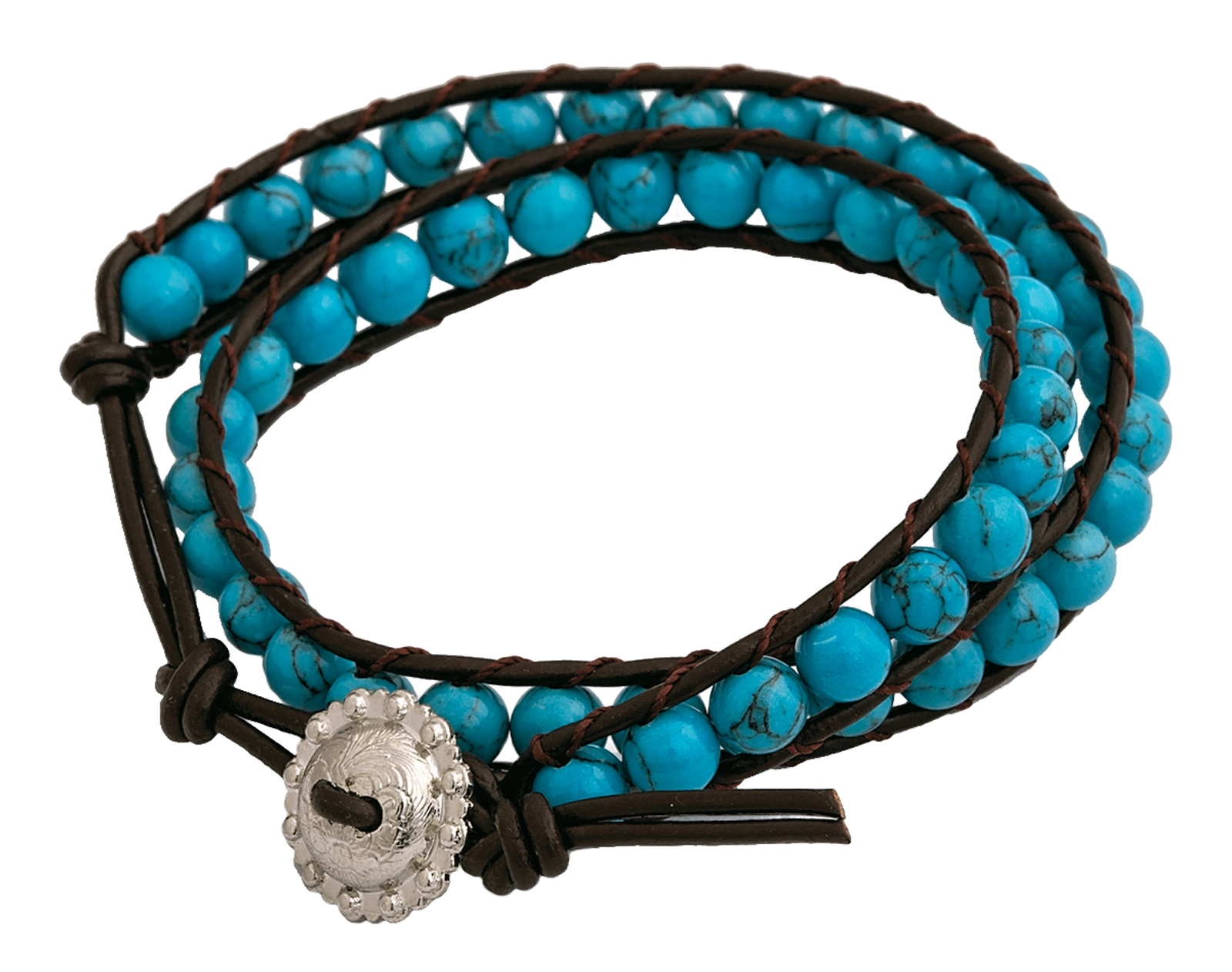 Montana Silversmiths Brown Leather Wrap Bracelet with Turquoise Beads