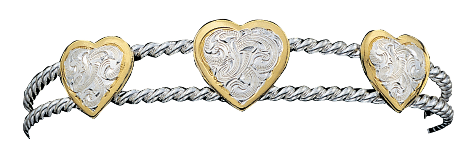 Montana Silversmiths 3 Hearts onofTwisted Rope Bracelet