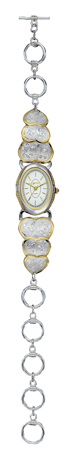 Montana Silversmiths Ladies Open Link Watch with Silver and Gold Engraved Hearts