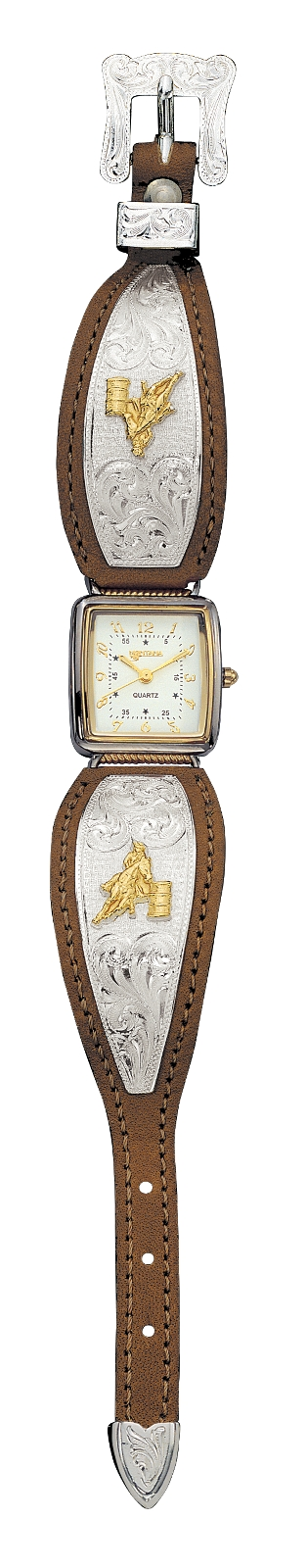 Montana Silversmiths Ladies Brown Leather Band Watch with Barrel Racer
