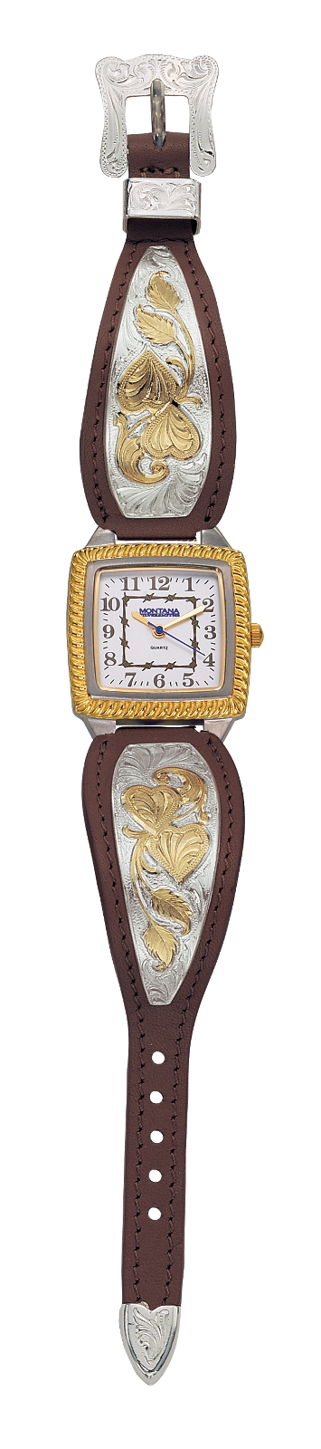 Montana Silversmiths Hearts of Gold Ladies Brown Leather Band Watch, Large Square Face