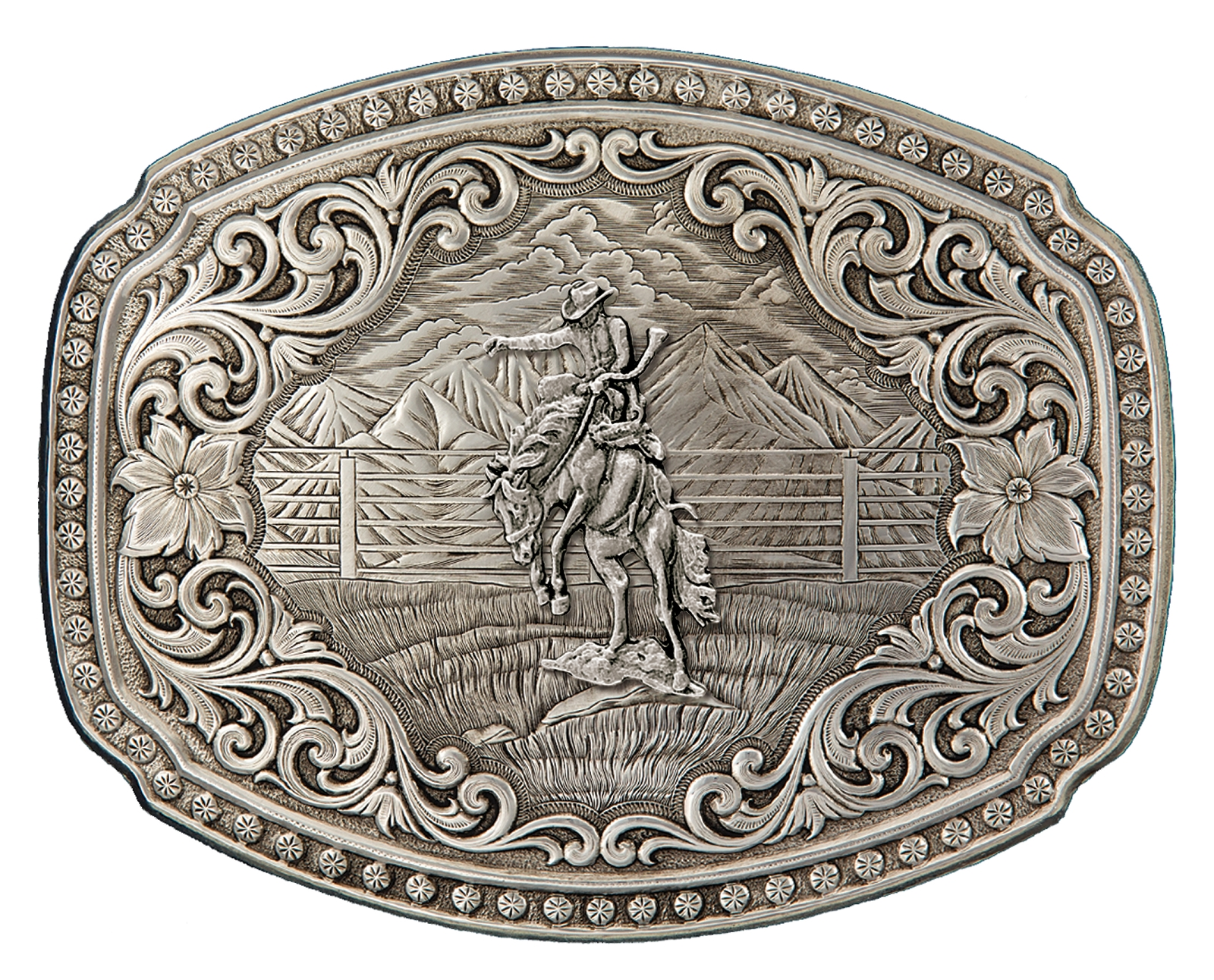 Montana Silversmiths Quicksilver Corral Western Belt Buckle with Bronc Rider