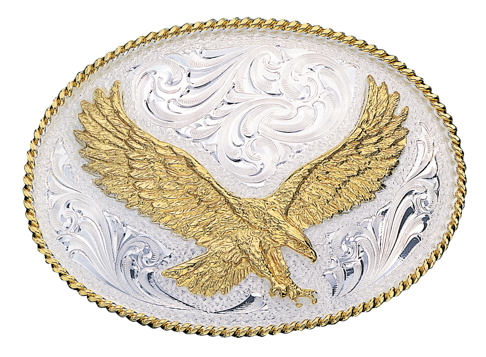 Montana Silversmiths Small Silver Engraved Western Belt Buckle with Large Eagle