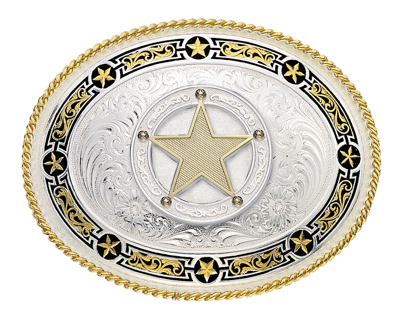 Montana Silversmiths Star Links Western Belt Buckle with Star Concho
