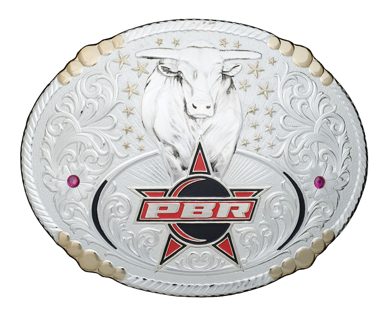 Montana Silversmiths PBR Bull Two Tone Silver Belt Buckle