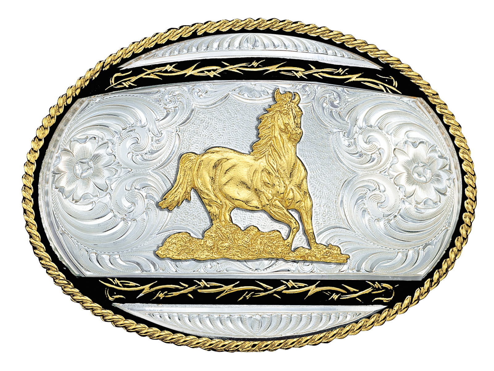 Montana Silversmiths Barbed Edge on Black Western Belt Buckle with Galloping Horse